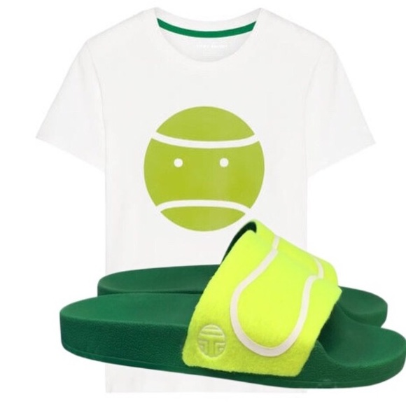 1d4d3e39a3ca82 Tory Burch Tennis Ball Felt Slides Sandals 10